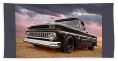 Early Sixties Chevy C10 At Sunset Beach Towel