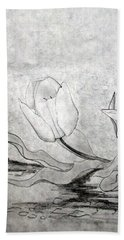 Beach Towel featuring the drawing Early Spring Tulips by J R Seymour