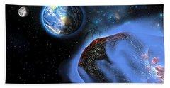 Earth Asteroids Beach Towel