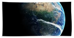 Earth Day And Night Space View Beach Towel