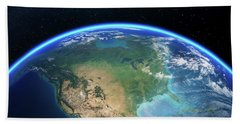 Earth From Space North America Beach Towel