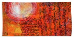 Beach Towel featuring the mixed media Earth Music by Nancy Merkle