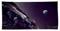 Beach Towel featuring the digital art Earth Rise On The Moon by Methune Hively