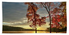 Beach Towel featuring the photograph East Texas Autumn Sunrise At The Lake by Todd Aaron