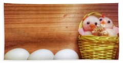 Easter Basket Of Pink Chicks With Eggs Beach Towel