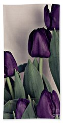 A Display Of Tulips Beach Towel by Sherry Hallemeier