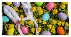 Beach Towel featuring the photograph Easter Eggs And Bunny Ears by Teri Virbickis