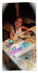 Coloring Easter Eggs Beach Towel