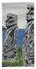 Easter Island Stone Men Beach Towel