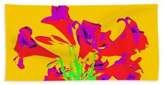 Easter Lilies As Pop Art Beach Towel