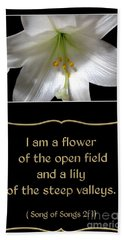 Easter Lily With Song Of Songs Quote Beach Towel