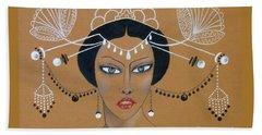 Eastern Elegance -- Whimsical Asian Woman Beach Sheet