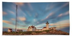 Eastern Point Lighthouse At Sunset Beach Towel