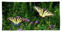 Beach Sheet featuring the photograph Eastern Tiger Swallowtail Butterfly - Female And Male  by Kerri Farley