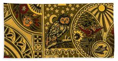 Eastlake Gilt Victorian Tapestry With Owl Beach Towel