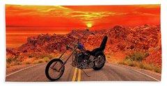 Beach Towel featuring the photograph Easy Rider Chopper by Louis Ferreira