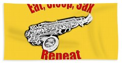 Eat Sleep Sax Repeat Beach Towel