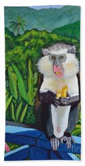 Eating A Banana Beach Towel by Laura Forde