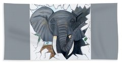 Beach Towel featuring the painting Eavesdropping Elephant by Teresa Wing
