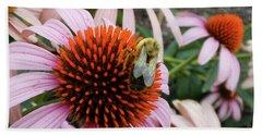 Echinacea Tea Time For Bee Beach Towel