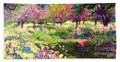 Echoes From Heaven, Spring Orchard Blossom And Pheasant Beach Towel by Jane Small