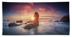 Beach Towel featuring the photograph Ecola State Park Beach Sunset Pano by William Lee