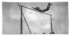Beach Towel featuring the painting Ed Cook In The Pole Vault by Artistic Panda
