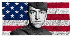 Eddie Rickenbacker And The American Flag Beach Towel