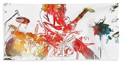 Eddie Van Halen Paint Splatter Beach Towel by Dan Sproul