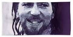 Eddie Vedder Pearl Jam  Beach Sheet by Enki Art