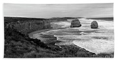 Edge Of A Continent Bw Beach Towel