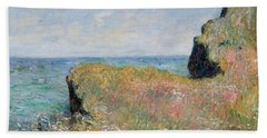 Edge Of The Cliff Pourville Beach Towel