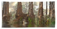 Edge Of The Old Forest Beach Sheet by Hal Tenny