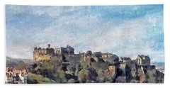 Beach Towel featuring the painting Edinburgh Castle Bright by Richard James Digance