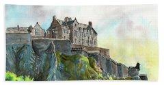 Edinburgh Castle From Princes Street Beach Towel
