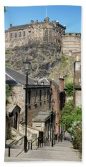 Beach Towel featuring the photograph Edinburgh Castle From The Vennel by Jeremy Lavender Photography