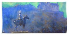 Beach Sheet featuring the painting Edinburgh Castle Horse Statue by Richard James Digance