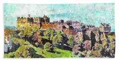 Beach Sheet featuring the painting Edinburgh Castle Skyline No 2 by Richard James Digance