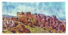 Beach Sheet featuring the painting Edinburgh Skyline No 1 by Richard James Digance