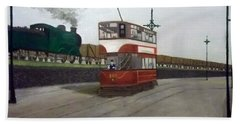 Edinburgh Tram With Goods Train Beach Sheet