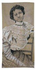 Edwardian Ebony Elegance -- Portrait Of Edwardian African-american Woman Beach Towel