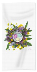 Beach Towel featuring the digital art Eggs In A Bowl by Lise Winne