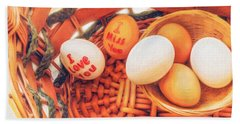 Eggs In A Wooden Basket Beach Towel