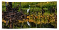 Egret Art  Beach Towel