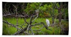 Egret At Pine Knoll 2 Beach Sheet