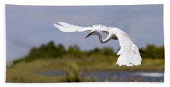 Egret Ballet Beach Towel