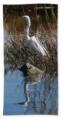 Beach Towel featuring the photograph Egret By A Rock by William Selander