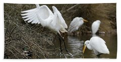 Beach Towel featuring the photograph Egret Exit by George Randy Bass
