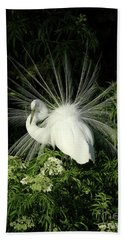 Egret Fan Dancer Beach Towel