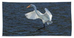 Egret Fishing Beach Towel